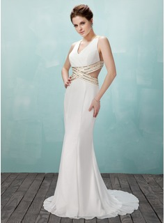 Trumpet/Mermaid V-neck Sweep Train Chiffon Prom Dress With Beading