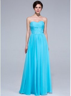 A-Line/Princess Sweetheart Floor-Length Chiffon Bridesmaid Dress With Ruffle Lace