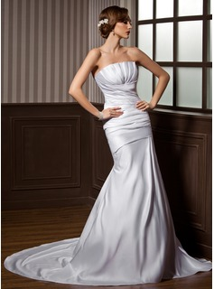 Trumpet/Mermaid Scalloped Neck Chapel Train Satin Wedding Dress With Ruffle