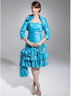 Sheath Strapless Knee-Length Taffeta Homecoming Dress With Ruffle Beading Sequins