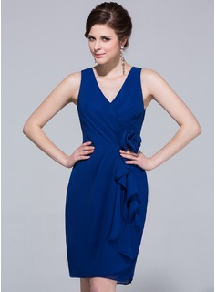Sheath V-neck Knee-Length Chiffon Bridesmaid Dress With Ruffle
