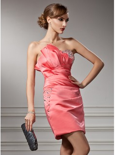 Sheath Scalloped Neck Short/Mini Satin Cocktail Dress With Ruffle Beading