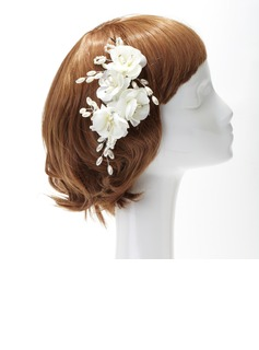 Stylish Imitation Pearls/Artificial Silk Flowers & Feathers
