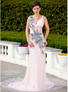 Sheath V-neck Court Train Satin Tulle Lace Evening Dress With Ruffle Beading Appliques