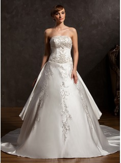 Ball-Gown Strapless Cathedral Train Satin Wedding Dress With Embroidery Beadwork