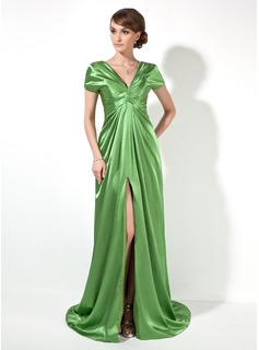 Empire V-neck Court Train Charmeuse Evening Dress With Ruffle (017022522)