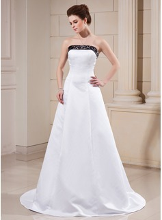 A-Line/Princess Strapless Sweep Train Satin Wedding Dress With Sashes Beadwork (002000068)