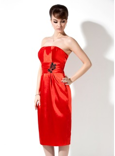 Sheath Strapless Knee-Length Charmeuse Holiday Dress With Ruffle Beading