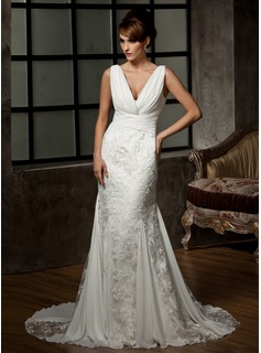 Mermaid V-neck Court Train Chiffon Lace Wedding Dress With Ruffle