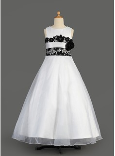 A-Line/Princess Scoop Neck Floor-Length Organza Charmeuse Flower Girl Dress With Lace Sash (010014611)