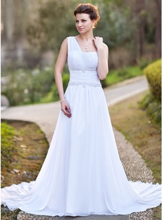 A-Line/Princess One-Shoulder Chapel Train Chiffon Wedding Dress With Ruffle Lace Beadwork