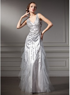 A-Line/Princess V-neck Floor-Length Tulle Charmeuse Holiday Dress With Beading Sequins (020025933)