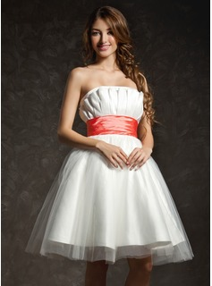 Empire Scalloped Neck Knee-Length Taffeta Tulle Homecoming Dress With Ruffle Sash