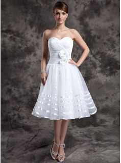 A-Line/Princess Sweetheart Knee-Length Taffeta Organza Wedding Dress With Ruffle Flower(s)