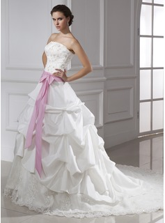 Ball-Gown Strapless Cathedral Train Taffeta Tulle Wedding Dress With Lace Sash Beadwork Sequins