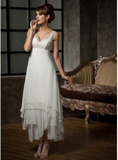 A-Line/Princess V-neck Ankle-Length Chiffon Tulle Wedding Dress With Lace