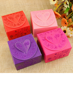 Floral Heart Design Cuboid Favor Boxes With Ribbons (Set of 12)