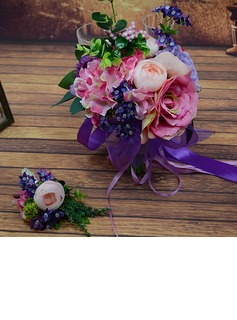 Fascinating Round Artificial Silk Boutonniere/Bridal Bouquets