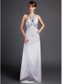 Sheath/Column V-neck Watteau Train Charmeuse Evening Dress With Ruffle Beading