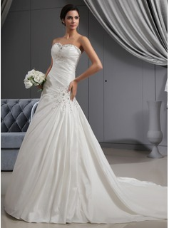A-Line/Princess Sweetheart Cathedral Train Taffeta Wedding Dress With Ruffle Lace Beadwork (002022651)