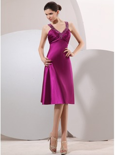 Empire V-neck Knee-Length Charmeuse Cocktail Dress With Ruffle Beading (016014067)