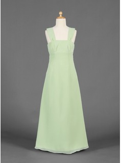 A-Line/Princess Square Neckline Floor-Length Chiffon Junior Bridesmaid Dress With Ruffle (009016169)