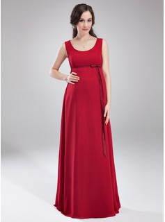 Empire Scoop Neck Floor-Length Chiffon Charmeuse Chiffon Charmeuse Maternity Bridesmaid Dress With Bow(s)