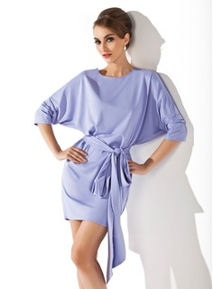 Sheath/Column Scoop Neck Short/Mini Satin Chiffon Cocktail Dress With Ruffle Bow(s)