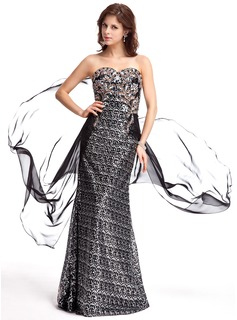 Sheath Sweetheart Sweep Train Chiffon Sequined Evening Dress With Beading
