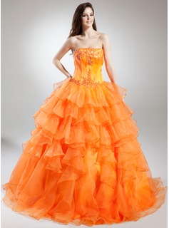 Ball-Gown Strapless Floor-Length Organza Satin Quinceanera Dress With Lace Beading Cascading Ruffles