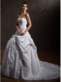 Ball-Gown Sweetheart Chapel Train Taffeta Wedding Dress With Embroidery Ruffle Beadwork