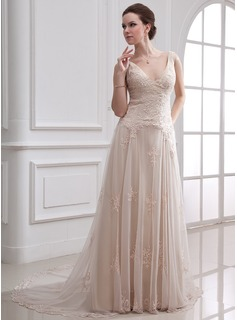 A-Line/Princess V-neck Court Train Satin Tulle Wedding Dress With Lace Beadwork