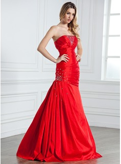 Mermaid Strapless Floor-Length Taffeta Evening Dress With Ruffle Beading