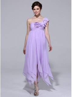 Empire One-Shoulder Ankle-Length Chiffon Holiday Dress With Ruffle Flower(s)