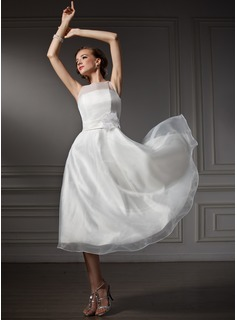 A-Line/Princess Scoop Neck Tea-Length Organza Satin Wedding Dress With Sashes Flower(s) (002021079)