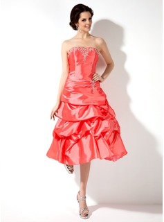 A-Line/Princess Sweetheart Tea-Length Taffeta Homecoming Dress With Embroidered Ruffle Beading