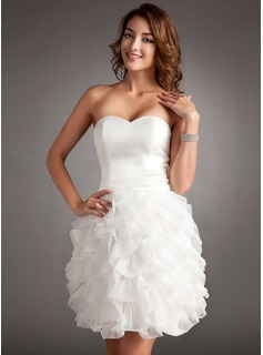 Sheath Sweetheart Short/Mini Organza Homecoming Dress With Ruffle (022020995)