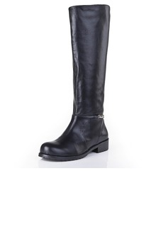 Real Leather Low Heel Flats Closed Toe Knee High Boots With Chain shoes