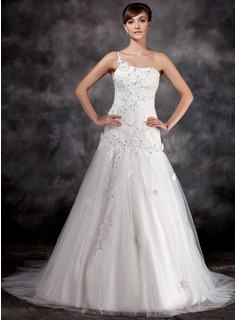 A-Line/Princess One-Shoulder Court Train Tulle Charmeuse Wedding Dress With Ruffle Lace Beadwork Flower(s)