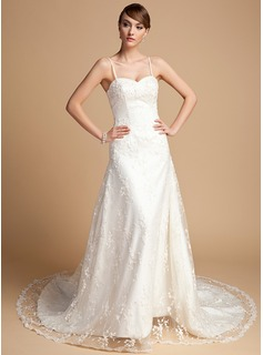A-Line/Princess Sweetheart Chapel Train Satin Lace Wedding Dress With Beading