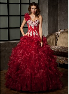 Ball-Gown One-Shoulder Floor-Length Organza Satin Quinceanera Dress With Ruffle Beading Appliques Sequins