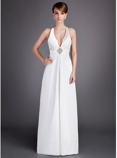 A-Line/Princess V-neck Floor-Length Charmeuse Mother of the Bride Dress With Ruffle Crystal Brooch