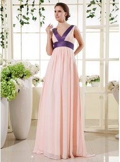 Empire V-neck Floor-Length Chiffon Charmeuse Holiday Dress With Sash