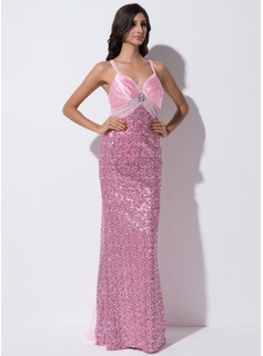 Sheath/Column Sweetheart Sweep Train Tulle Charmeuse Sequined Prom Dress With Beading