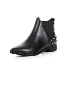 Real Leather Flat Heel Ankle Boots With Rivet shoes