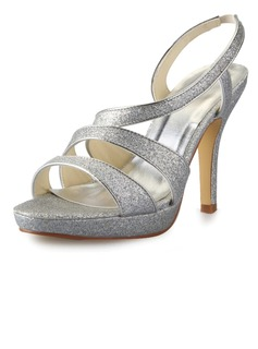 Women's Sparkling Glitter Stiletto Heel Pumps Sandals With Buckle