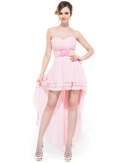 A-Line/Princess Sweetheart Asymmetrical Chiffon Prom Dress With Ruffle Sequins