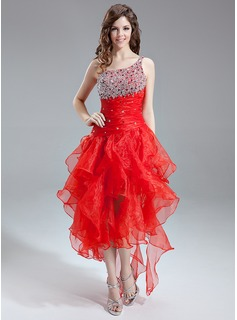 A-Line/Princess One-Shoulder Asymmetrical Organza Prom Dress With Ruffle Beading Sequins