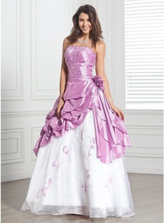 Ball-Gown Strapless Floor-Length Taffeta Organza Quinceanera Dress With Beading Flower(s)