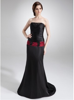 A-Line/Princess Strapless Court Train Charmeuse Mother of the Bride Dress With Lace Sash Beading